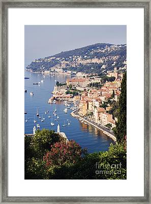Seaside Town Of Villefranche Sur Mer In Southern France Framed Print by Jeremy Woodhouse