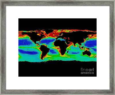 Seawifs Data For The World Framed Print by Nasa