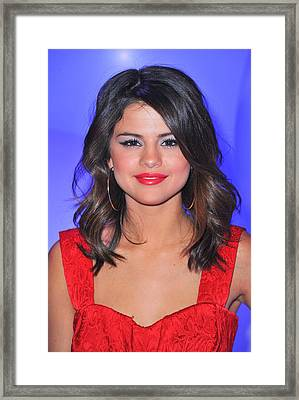 Selena Gomez At A Public Appearance Framed Print