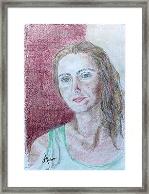 Framed Print featuring the drawing Self Portrait by Anna Ruzsan