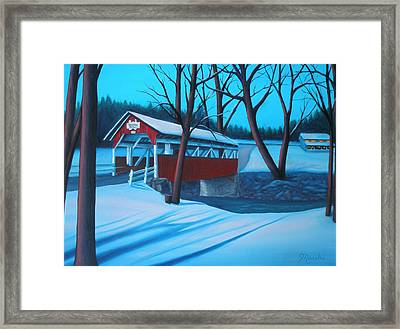 Shaffer's Covered Bridge 1877 Framed Print by Lora Marsh