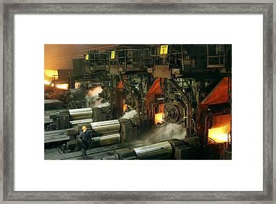 Sheet Mill Processing Molten Metal Framed Print by Ria Novosti