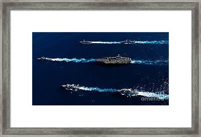 Ships From The John C. Stennis Carrier Framed Print by Stocktrek Images