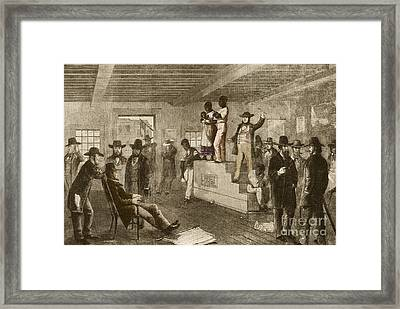 Slave Auction, 1861 Framed Print by Photo Researchers