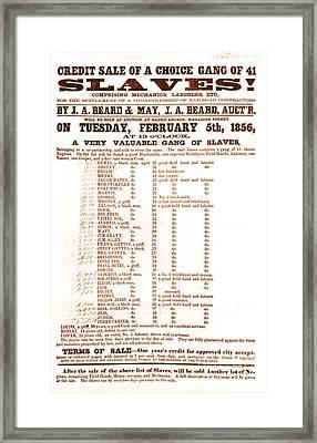 Slave Auction Notice Framed Print