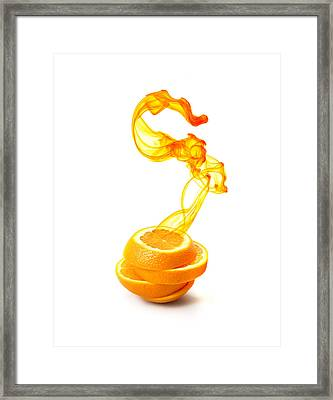 Sliced Orange With Ink Suspended Framed Print by Multi-bits