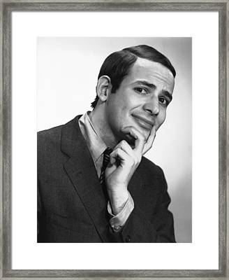 Smiling Man Posing In Studio, (b&w), Portrait Framed Print by George Marks