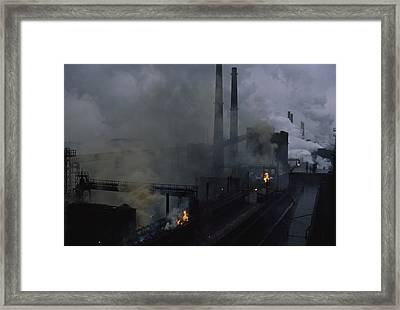 Smoke Spews From The Coke Production Framed Print