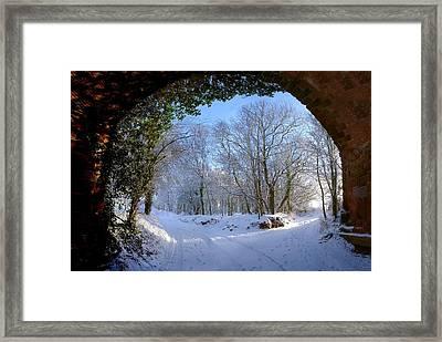Snow Through The Bridge Framed Print