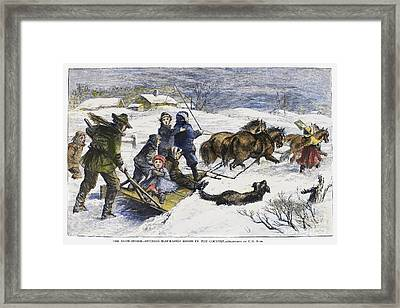 Snowstorm In The Country Framed Print by Granger