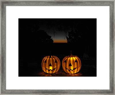 Solar Halloween Pumpkins Framed Print by Rebecca Cearley