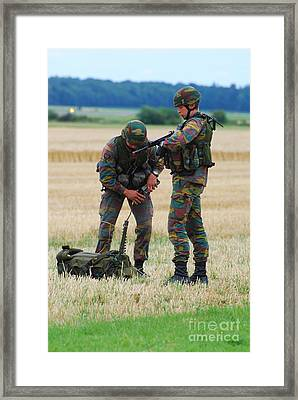 Soldiers Of The Belgian Army Framed Print by Luc De Jaeger