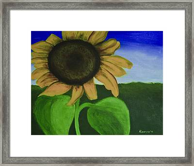 Solo Sunflower Framed Print by Roxanne Weber