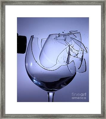 Speaker Breaking A Glass With Sound Framed Print by Ted Kinsman