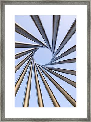 Spiral Metal Sculpture At Fermilab Framed Print by Mark Williamson