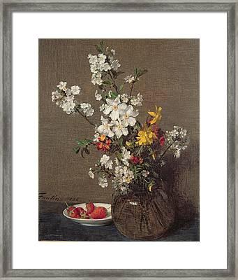 Spring Bouquet Framed Print by Ignace Henri Jean Fantin-Latour