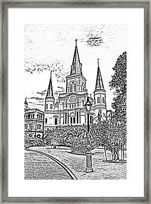 St Louis Cathedral Jackson Square French Quarter New Orleans Photocopy Digital Art  Framed Print by Shawn O'Brien