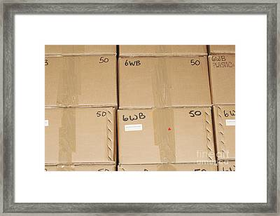 Stacks Of Boxes Framed Print by Shannon Fagan
