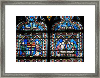 Stained Glass Window Of Notre Dame De Paris. France Framed Print