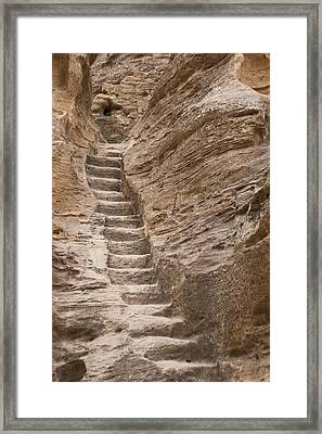 Stairs Lead Up A Rock Face In Little Framed Print by Taylor S. Kennedy