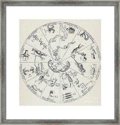 Star Map From Kirchers Oedipus Framed Print