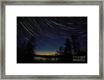 Star Trails At Dusk Framed Print by Yuichi Takasaka