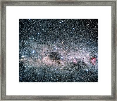 Starfield Centred On The Southern Cross Framed Print by Luke Dodd