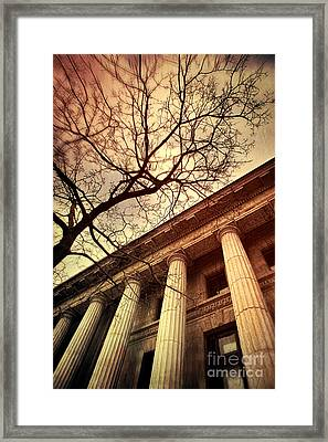 Stark Facade Of Justice Courthouse From Low Angel View  Framed Print by Sandra Cunningham