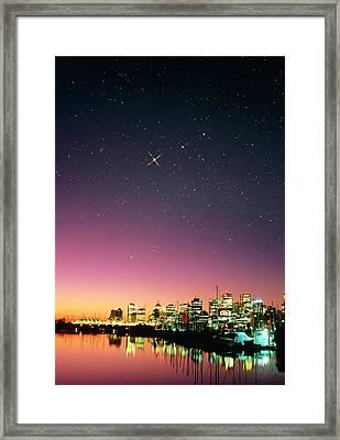 Starry Sky Over Vancouver Framed Print by David Nunuk