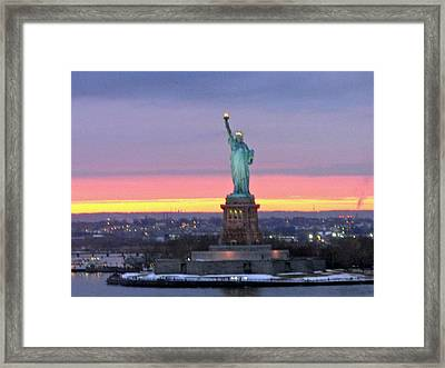 Statue Of Liberty At Sunset Framed Print by Mircea Veleanu