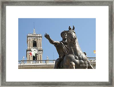 Statue Of Marcus Aurelius On Capitoline Hill Rome Lazio Italy Framed Print by Bernard Jaubert
