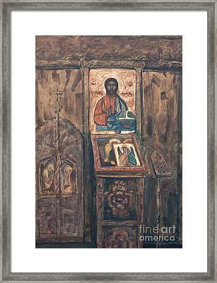Framed Print featuring the painting Stavropoleos Church by Olimpia - Hinamatsuri Barbu