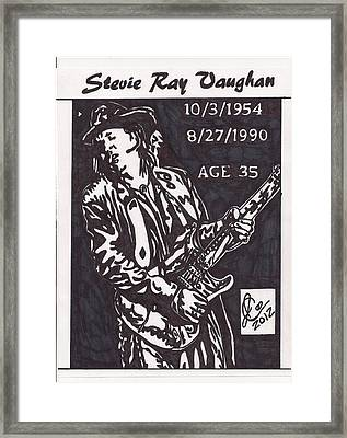 Framed Print featuring the drawing Stevie Ray Vaughn by Jeremiah Colley