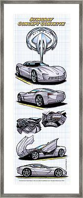Framed Print featuring the drawing Stingray Concept Corvette by K Scott Teeters