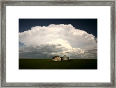 Storm Clouds Over Saskatchewan Granaries Framed Print by Mark Duffy