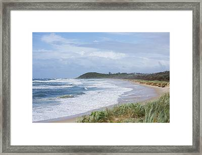 Storm Swell Waves On A Beach Framed Print by David Freund