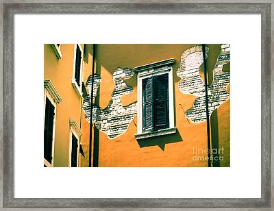 Stucco And Brick Patterns On Buildings In Verona Italy Framed Print by Gordon Wood