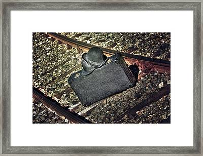 Suitcase And Hats Framed Print