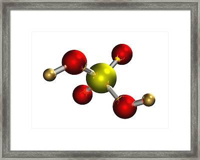 Sulphuric Acid Molecule Framed Print by Dr Mark J. Winter