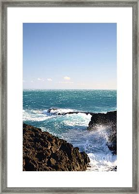 Sunny Day And Stormy Sea Framed Print by Kathleen Pio