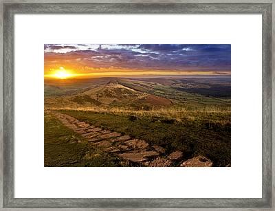 Sunrise On Mam Tor Derbyshire Framed Print by Darren Burroughs