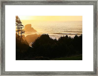 Sunset At Ecola Point Framed Print