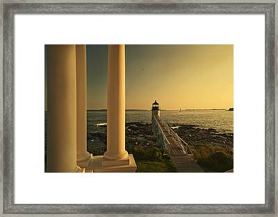Sunset At Marshall Point Light Framed Print by Gordon Ripley