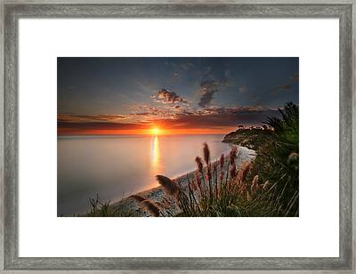 Sunset At Swamis Beach 2 Framed Print by Larry Marshall