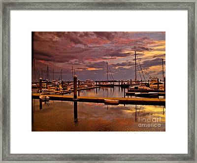 Sunset At The Marina Framed Print by Scott Moore