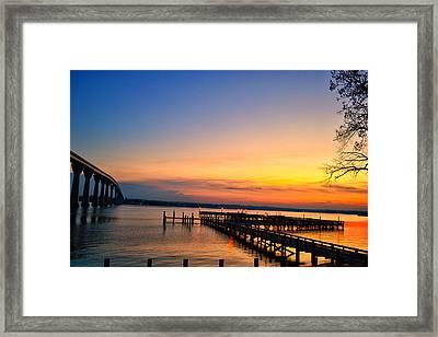 Sunset Bridge Framed Print by Kelly Reber