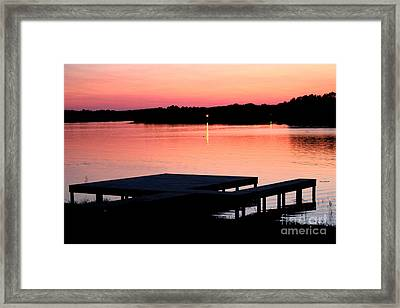 Framed Print featuring the photograph Sunset View From Dockside by Kathy  White