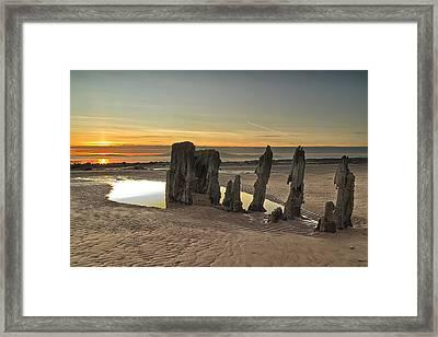 Sunset Wreck Framed Print by Fiona Messenger