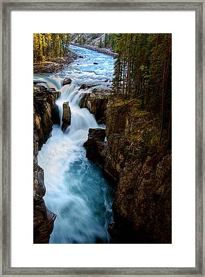 Sunwapta Falls In Jasper National Park Framed Print by Mark Duffy