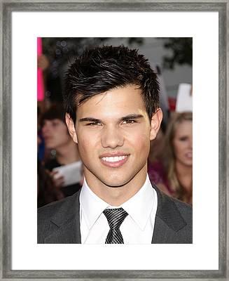 Taylor Lautner At Arrivals For The Framed Print